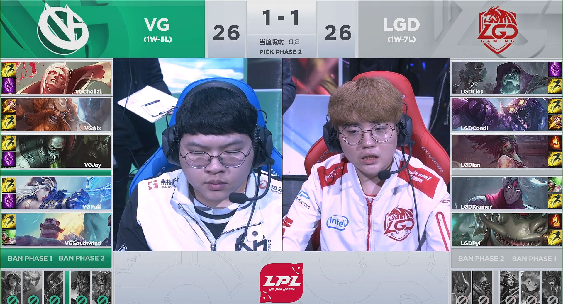 【战报】峡谷再现换家场景,VG让一追二击败LGD